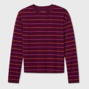 A New Day Burgandy Stripe Long Sleeve Shirt